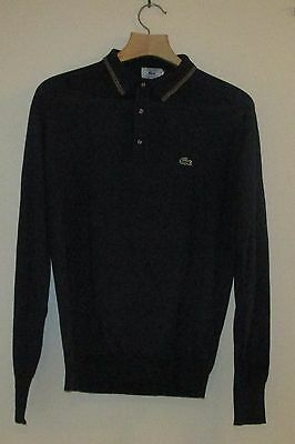 Izod Lacoste Navy Blue Sweater Shirt with Red, Tan & Blue Trim Large