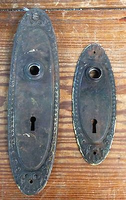 Antique Victorian Door Knob Back Face Plates Lock Key Hole Covers
