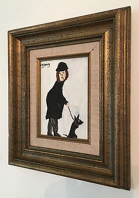 LS Lowry Oil Painting Hand Signed Dated Vintage Person With Dog