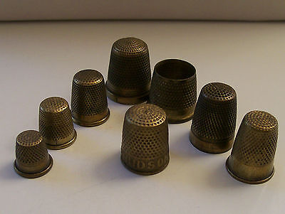 Nice Collection of 8 Brass Thimbles Including One Open Top