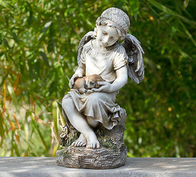 17 inch Angel Girl with Puppy Dog Pet Statue Garden Decor Figure Grave Memorial