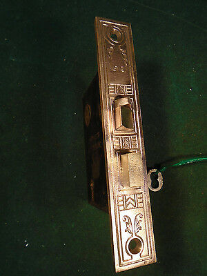 VINTAGE CORBIN EASTLAKE MORTISE LOCK w/KEY  WORKS GREAT, BEAUTIFUL!   (6637)