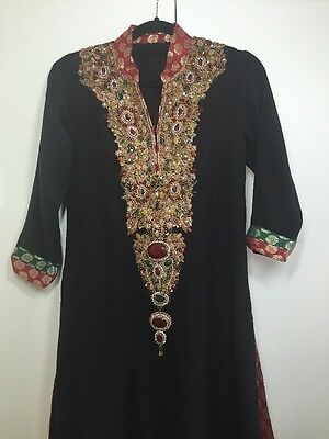 Black Asian Pakistani Indian Embellished Outfit Suit