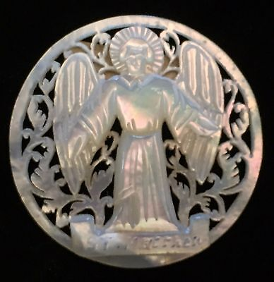 Beautiful Vintage Bethlehem Pearl Shell Large Button Carved Pierced Angel St Mat