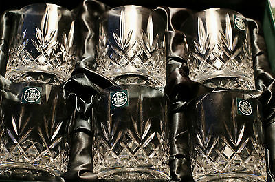 Thomas Webb Crystal Whiskey/Brandy/Spirit Glasses x 6 Boxed