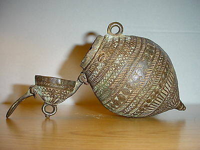 Ancient Brass Engraved Medicine Jar Apothecary Container