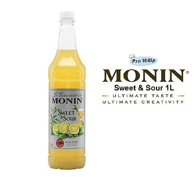 MONIN Coffee Syrups - SWEET & SOUR - 1L Plastic Bottle - USED BY COSTA COFFEE