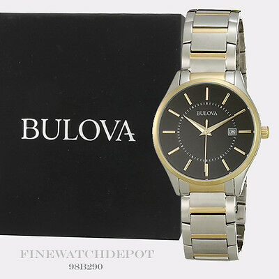 Authentic Bulova Men's Two-Tone Stainless Steel Black Dial Watch 98B290