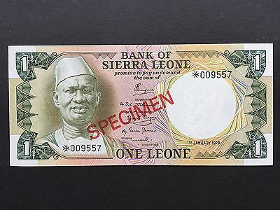 Sierra Leone One 1 Leone Specimen Note Dated 1st July 1978 Uncirculated UNC