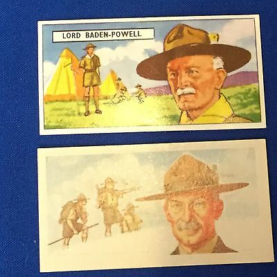 Boy Scout Cigarette Cards Lord Baden Powell Famous People 2-Cards