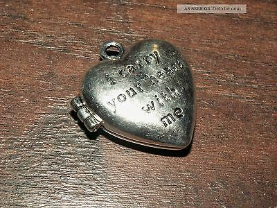 Silber Amulett Medaillon Anhänger Dose I Carry Your Heart With Me Liebe 26.2