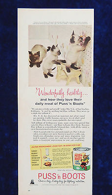 Vintage Puss n Boots cat food playful Siamese kittens advertisement print ad.