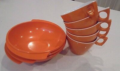 ORANGE Melmac Ornamin ware 5 x Orange Tea Cup and 3 x Orange Bowls 8 itemsTotal