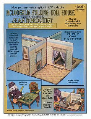 """Jean Nordquist's Repro McLoughlin Folding Doll House in 1/4"""" miniature scale"""