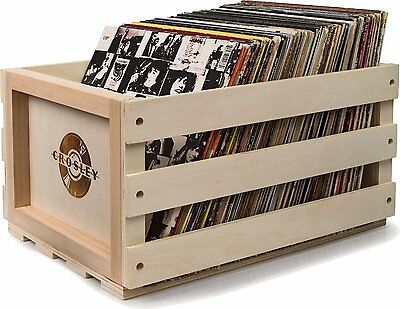 Crosley Rustic Wooden Record Storage Crate Natural Wood Vinyl Box LP Holder NEW
