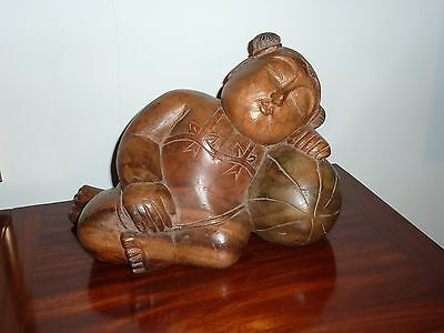 Chinese Antique Wood Carved Statue of 'The sleeping girl on a watermelon'