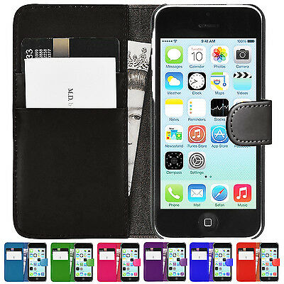 New  Leather Wallet Book Flip Stand Case Back Cover Pouch For Apple iPhone 5C