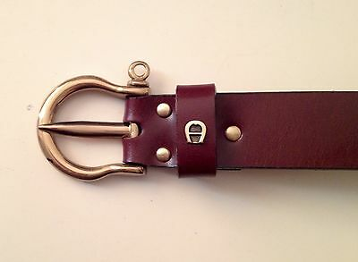 Etienne AIGNER leather belt in deep Burgundy with brass buckle 34 inch/ 85cm