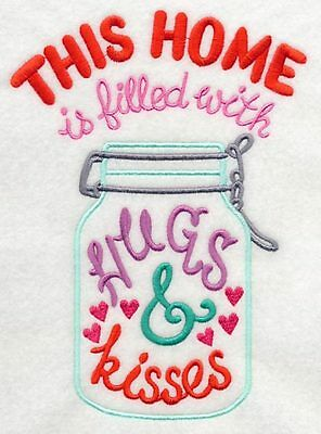 Embroidered This home is filled with hugs & kisses quilt block,sewing fabric,