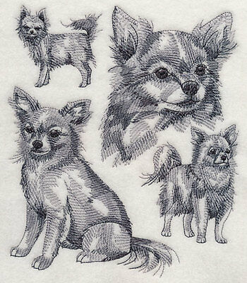 Embroidered Chihuahua sketch quilt block,sewing,dog fabric,cushion panel, dogs