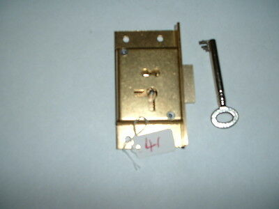 "new 4 lever solid bras cabinet lock 3"" x 1 5/8"" x1/2 ""R/HAND fixing british made"