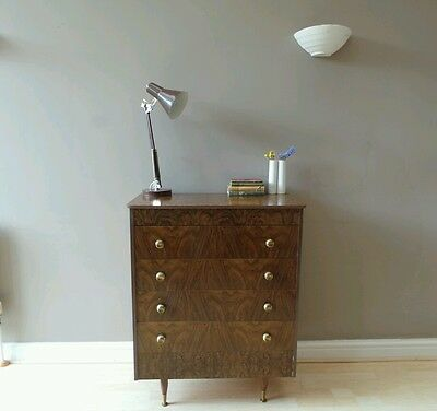 Vintage 1950s 60s mid century tallboy chest of drawers walnut effect atomic legs