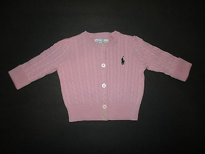 New Nwt Infant Girls Ralph Lauren Pink Cable Knit Cardigan Sweater Size 3 Month