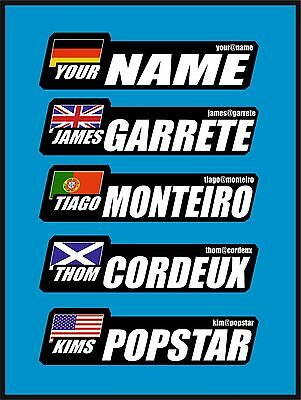 4x Personalised Bike Frame Helmet Sticker Label Cycling Name Flag Road Cicle