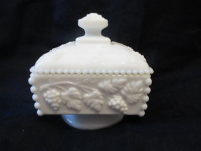 Signed WESTMORELAND Vintage MILK GLASS Compote - Beads & Grapes
