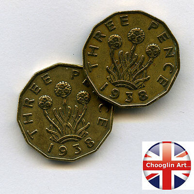 A pair of 1938 British Nickel Brass GEORGE VI THREEPENCE Coins