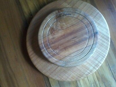 Vintage Handmade and Signed Maple Wood 2 Tiered Lazy Susan