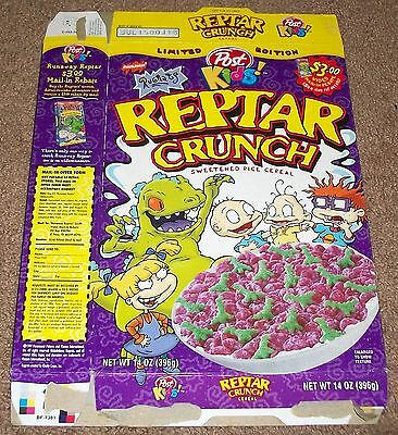 1999 Post Limited Edition Rugrats Reptar Crunch Cereal Box Flat Reptar's Run
