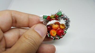 Apples mini in basket for dollhouse miniature or collection happy new year