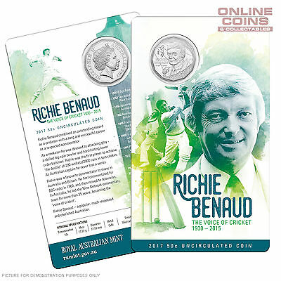 2017 50c RAM Richie Benaud The Voice of Cricket 1930-2015 Uncirculated Coin
