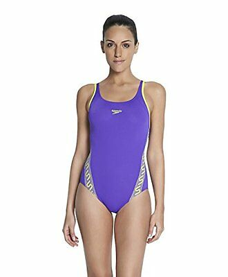 Speedo Monogram Msbk Af Costume, Donna, Multicolore (Purple/Wildlime), 42
