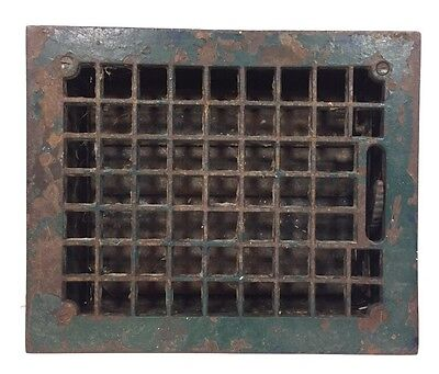 "Vtg Antique Cast Iron Floor Wall Heat Vent Grate Register Louvers 8"" X 10"" Lot B"