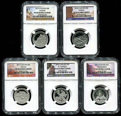 2012 S Silver Quarter 5 Coin Proof Set NGC PF69 UC America The Beautiful ATB 25C