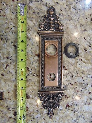 Antique Ornate Victorian Brass ENTRY  Door PLATE  3 X 12 3/4 INCHES