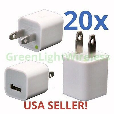 20x Brand New 1 Amp LOT Power Adapter Home Wall Charger 1A Plug iPhone Samsung