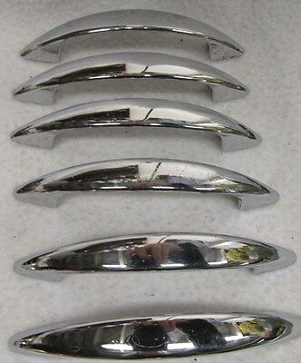"Vintage Lot of 6 Chrome Drawer Pulls Cabinet Cupboard Handles Atomic 4 1/8"" Long"