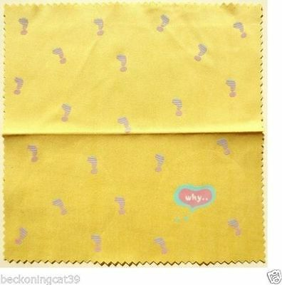 FREE SHIP Love Cute Funny Glass Cleaning Cloth Why Exclamation Mark Yellow JAPAN