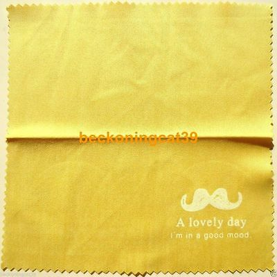 FREE SHIP Lovely Cute Glass Cleaning Cloth Mustache Beard Man Yellow Gift JAPAN