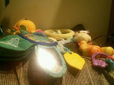 Lot of 4 baby hanging toys 2011 Fisher Price / baby Einstein  / Dolly, Inc. /Kid