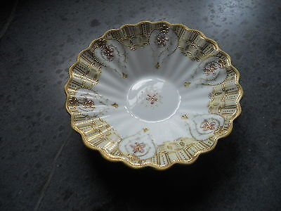 Nippon, Hand Painted, Candy Dish, Ornate W/ Raised Pink Floral & Gold Decoration