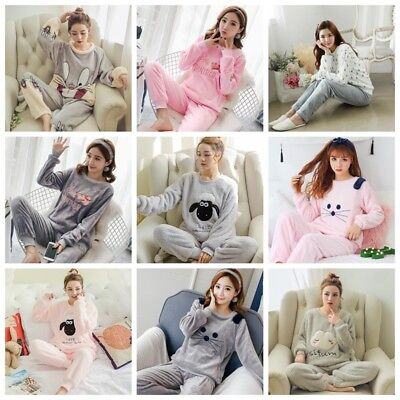 Women's Cute Pajamas Set Warm Nightgown Female Cartoon Animal Pants Sleepwear