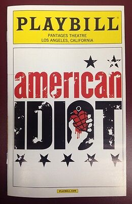 Green Day's American IDIOT Playbill Pantages Theatre LOS ANGELES 2014