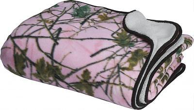 Soft Reversible Pink Camo & Sherpa Throw Blanket / Hunting/ Camping/ Gift Item