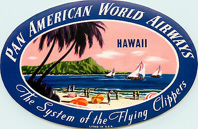 PAN AMERICAN WORLD AIRWAYS to HAWAII - Gorgeous Old Airline Luggage Label, 1955