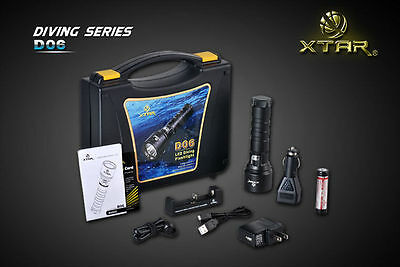 AUTHENTIC XTAR D06 L2 U2 900Lm Professional Diving Flashlight - FULL SET KIT