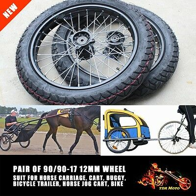 """12mm Axle 90/90-17"""" Wheel Horse Trainer Carriage Jog Cart  Buggy Bicycle Trailer"""
